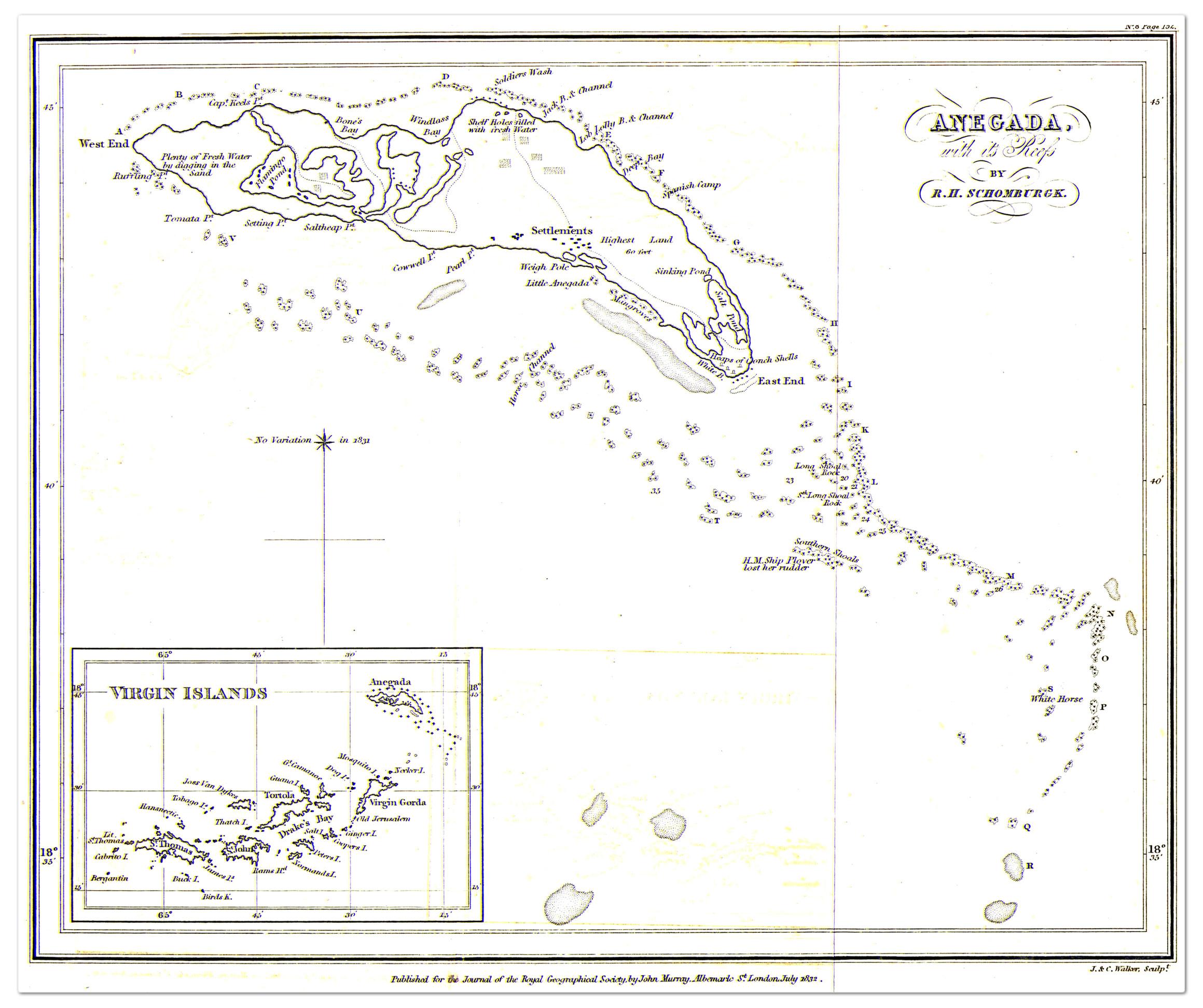 Anegada British Virgin Islands Map 1832 Philatelic Database
