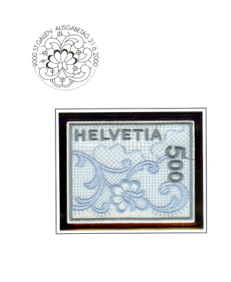 Embroidered stamp
