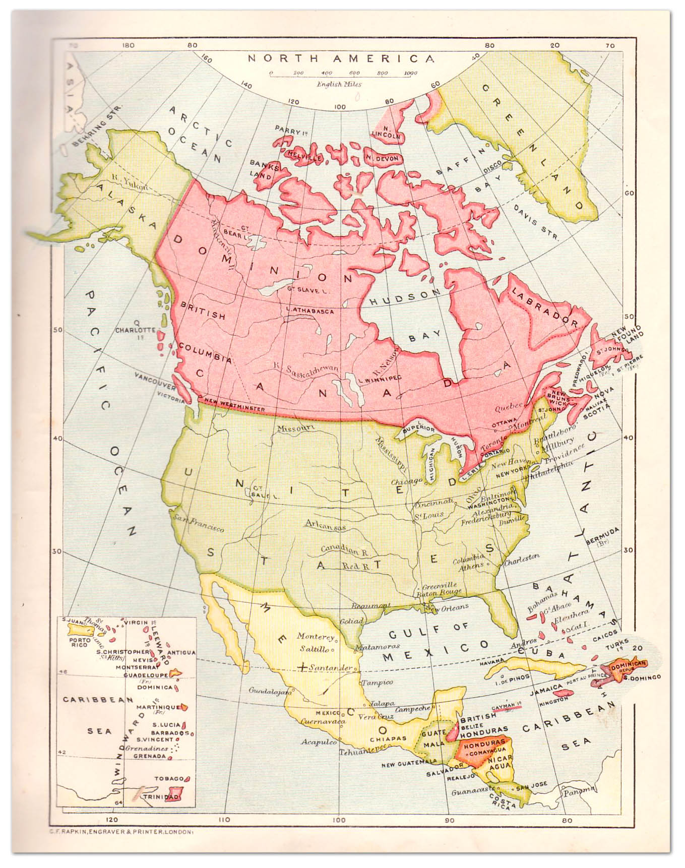 Central North America Map - Us-map-1908
