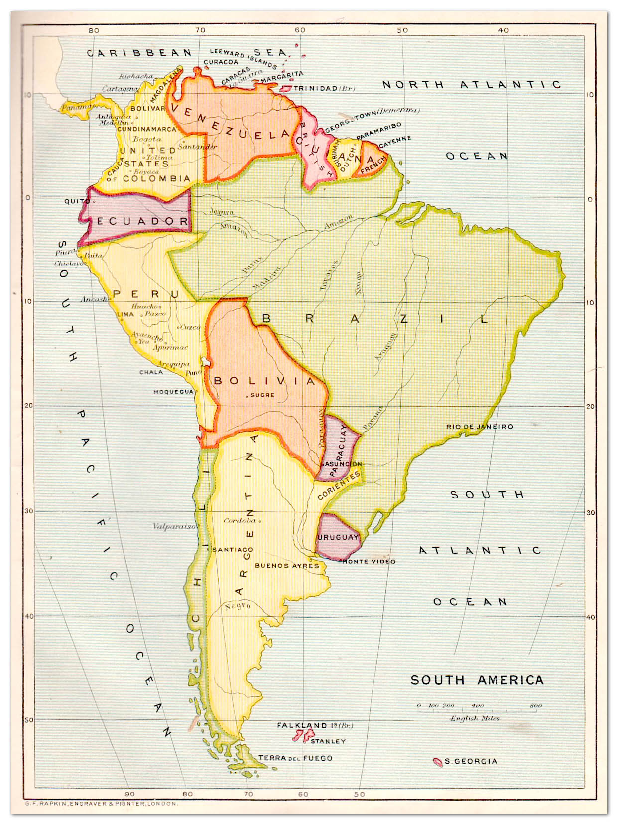 South America Map Strand Album Philatelic Database - South america map in spanish
