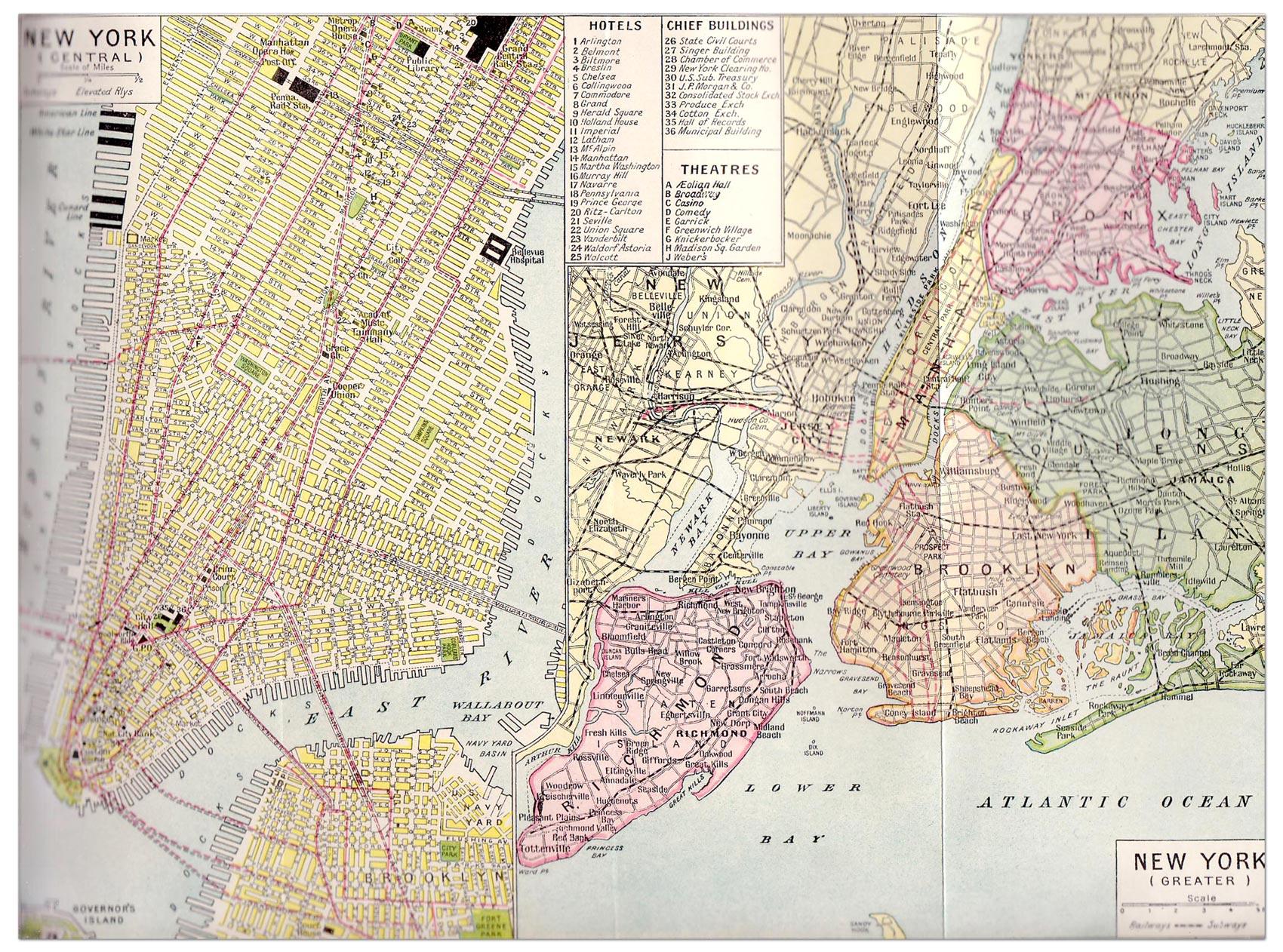 New York City Map 1923 Philatelic Database