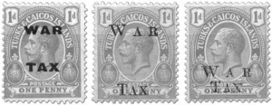 More Turks and Caicos Islands War Tax overprints