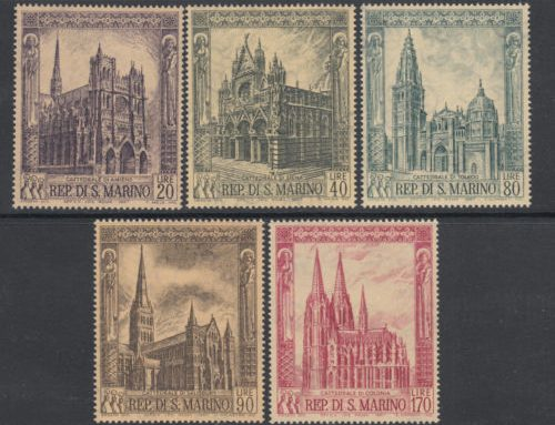 Stamps of San Marino: Cathedrals (1967)