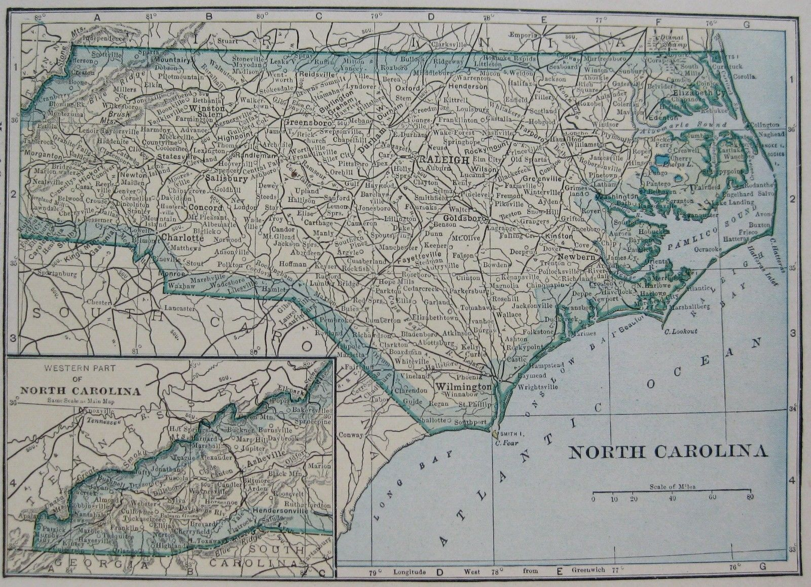 Map North Carolina 1925
