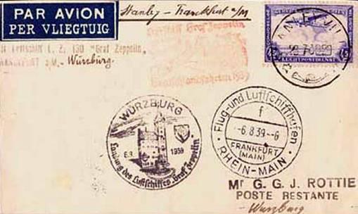 Zeppelin-Mail-Würzburg-6th-August-1939