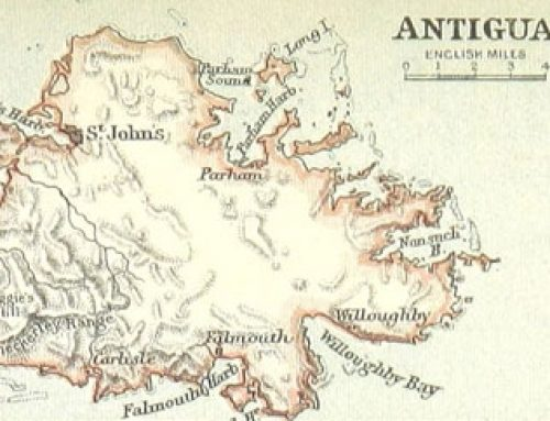 British West Indies: Map of Antigua (1888)
