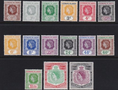 Stamps of the Leeward Islands: Queen Elizabeth II Definitives (1954)