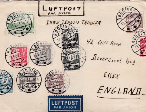 Danish Postal History: Airmail Cover from   Rødding to England (1938)
