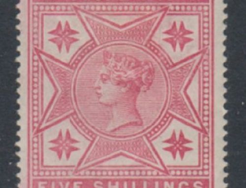 Stamps of Malta: Queen Victoria  5 shillings rose (1886)